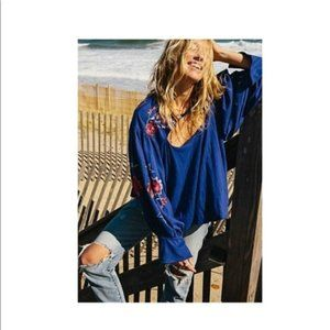 Free People Lita Stunningly Embroidered Top